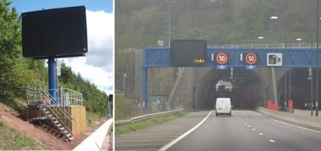 Variable message sign and overhead gantry with speed limit signals